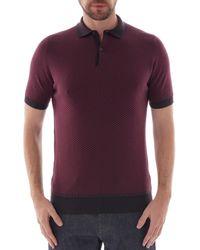 John Smedley Observe Jacquard Ss Polo Shirt - Purple