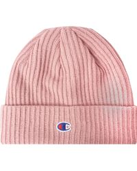 Champion Logo Patch Beanie - Pink