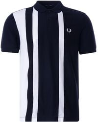 Fred Perry Striped Pique Polo Shirt - Blue
