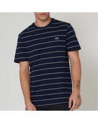 Lacoste - Striped Cotton T-shirt - Lyst