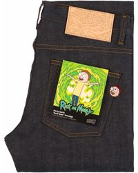 Naked & Famous X Rick & Morty Morty Smith Aww Geez Selvedge - Blue