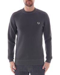 Fred Perry Fred Perry Waffle Textured Crew Neck Jumper - Blue