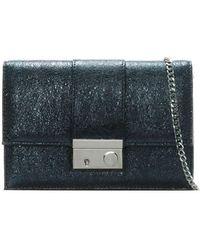 Daniel Ahand Navy Metallic Leather Push Lock Shoulder Bag - Blue