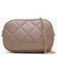 Valentino By Mario Valentino Ocarina Taupe Quilted Chain Strap Belt Bag - Brown