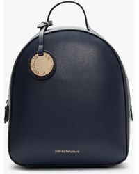 Emporio Armani Small Navy Pebbled Backpack - Blue