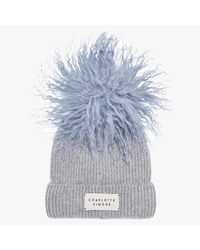 Charlotte Simone Bonnie Blue Cashmere Pom Pom Beanie Hat