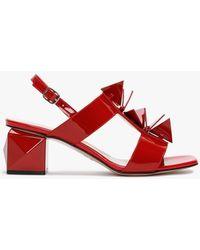 Daniel Jaylene Patent Red Leather Geometric Heel Sandals