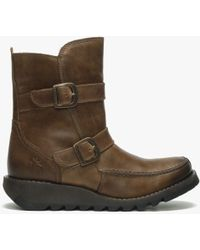 Fly London - Sann Camel Leather Double Buckle Low Wedge Ankle Boots - Lyst