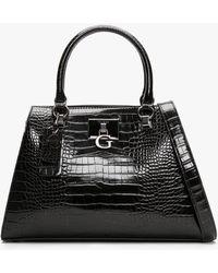 Guess Stephi Black Moc Croc Satchel Bag
