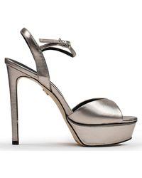 Lola Cruz Louth Silver Metallic Leather Platform Sandals