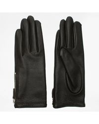 Agnelle Araxie Brown Leather Zip Detail Gloves