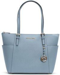 Michael Kors - Jet Set Pocket Pale Blue Leather Top Zip Tote Bag - Lyst