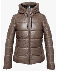 Oakwood Mary Jessie Brown Leather Hooded Padded Bomber Jacket