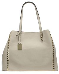 Daniel Mooch Beige Tumbled Leather Studded Tote Bag - Natural