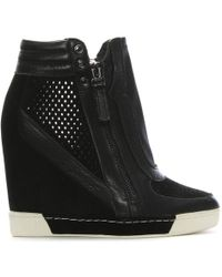 Daniel - Perfo Black Suede & Leather Concealed Wedge Trainer - Lyst
