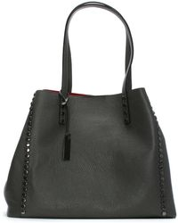 Daniel Mooch Gray Tumbled Leather Studded Tote Bag
