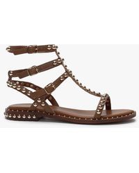 Daniel Eternal Tan Leather Studded Gladiator Sandals - Brown