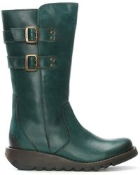 Fly London - Suli Petrol Leather Wedge Low Knee Boots - Lyst
