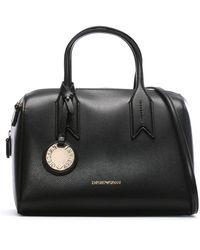 Emporio Armani Frida Black Textured Top Handle Bowling Bag