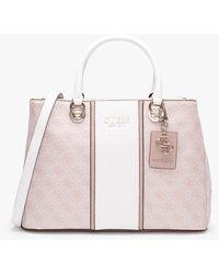 Guess Cathleen Blush Logo Carryall Satchel Bag - Pink