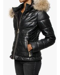 Oakwood Jam Black Leather Fur Trim Hooded Jacket
