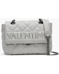 Valentino By Mario Valentino Small Licia Grey Quilted Logo Cross-body Bag