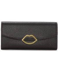 Lulu Guinness Lip Trisha Purple Grainy Leather Wallet Accessories: One - Black