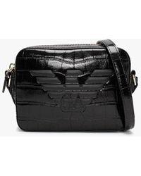 Emporio Armani Croc Black Camera Bag
