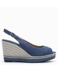 Carmen Saiz Navy Denim Canvas Espadrille Wedge Sandals - Blue