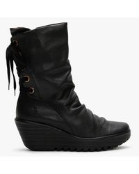 Fly London Yada Black Leather Tie Back Wedge Calf Boots