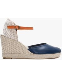 Carmen Saiz Navy Leather Closed Toe Wedge Espadrilles - Blue