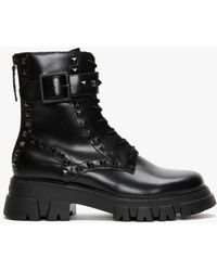 Ash Lewis Studs Black Leather Ankle Boots