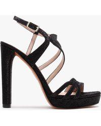 Albano Bozo Black Glitter Platform Platform Sandals