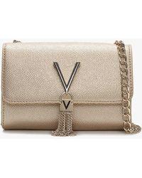 Valentino By Mario Valentino - Divina Gold Pebbled Shoulder Bag - Lyst
