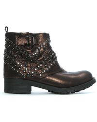 Manufacture D'essai - Bronze Metallic Studded Ankle Boots - Lyst