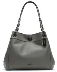 COACH - Turnlock Edie Heather Grey Polished Pebbled Leather Shoulder Bag - Lyst