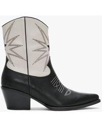 Lola Cruz Gatura White & Black Leather Two Tone Cowboy Boots