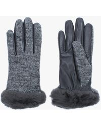 UGG Women's Shorty Charcoal Leather & Wool Gloves - Gray