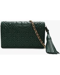 Tory Burch Fleming Norwood Leather Quilted Cross-body Wallet - Green