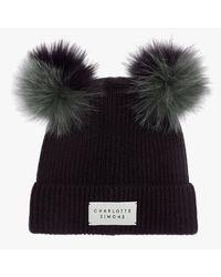 Charlotte Simone Teddy Khaki & Black Cashmere Double Pom Pom Beanie Hat