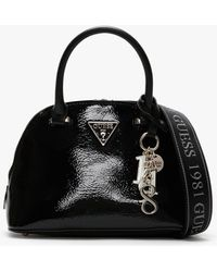 Guess Maddy Dome Black Patent Satchel Bag