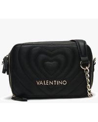 Valentino By Mario Valentino Fiona Black Quilted Heart Camera Bag