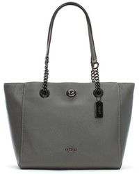 COACH - Turnlock Chain Heather Grey Leather Tote Bag - Lyst