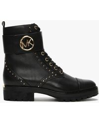 Michael Kors Tatum Black Leather Combat Boots
