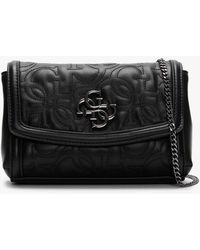 Guess Mini New Wave Black Quilted Logo Cross-body Bag