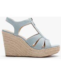 Michael Kors Berkley Pale Blue Canvas Wedge Sandals