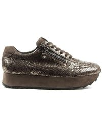 Kennel & Schmenger Slab Gray Suede Reptile Lace Up Sneaker