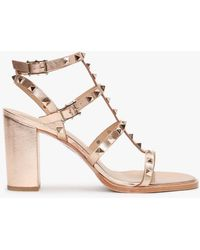 Daniel Pitter Rose Gold Leather Studded Block Heeled Sandals - Pink