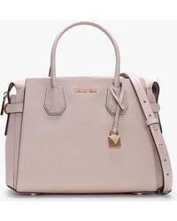 Michael Kors - Medium Mercer Belted Soft Pink Pebbled Leather Satchel Bag - Lyst