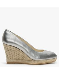 Carmen Saiz Pewter Metallic Leather Woven Rope Wedge Shoes